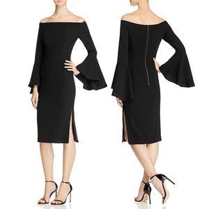 Bardot off the shoulder bell sleeve cocktail dress